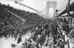 Opening day on the bridge, 1931, with 5,000 people in the stands and thousands more gathered around the New York and New Jersey sides.